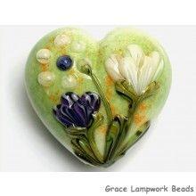 Grace Lampwork Beads // 11819125 - Green w/White