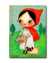 ORIGINAL acrylic painting Little Red Riding Hood with por tascha
