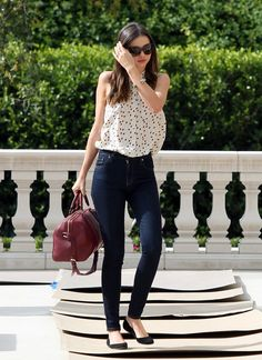 White lace top, black skinnies and a statement bag. simply gorgeous**