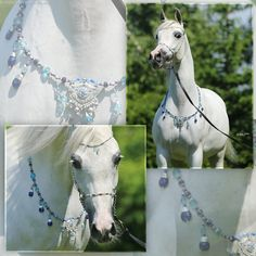 Venetzian Water  Blue/silver beaded breast collar and halter set with removable brow band, blue crystals and darkblue Venetzian glass and silver ornaments
