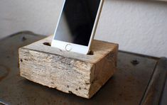 Reclaimed Solid Wood iPhone Dock With Charger Port - Docking Station - Large, Solid, Raw Aged Oak