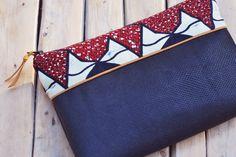 Pochette zippée / Trousse en cuir et tissu wax