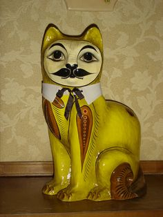 "Senor El Gato Spectacular Rare 19"" Vintage Mustache Paper Mache Cat Signed by Artist from flapperdashery"