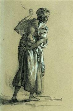 Femme kabyle portant son bébé von Gustave Achille Guillaumet