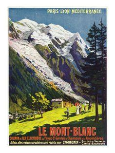 Hautes-Alpes, France - Scenic View of Mont-Blanc, Paris, Lyon, and La Mediterranee Railway, c.1920