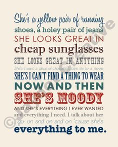 Printable BRAD PAISLEY She's Everything Lyrics by JaydotCreative I absolutely adore this song! Country Music Quotes, Country Music Lyrics, Country Songs, I Love Music, Love Songs, Everything Lyrics, Lyrics To Live By, Pokerface, This Is Your Life