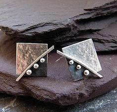 Sterling silver stud earrings. Square earrings. Sterling silver post earrings. Silver earrings. Handmade.