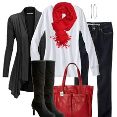 Fall Outfit - Red, White, Black