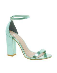 Metallic mint heels