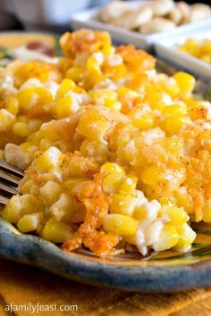 Nantucket Corn Pudding - A creamy corn casserole topped with a buttery, cheesy cracker crust. From a Family Feast Corn Pudding Recipes, Corn Recipes, Side Dish Recipes, Vegetable Recipes, Recipies, Best Thanksgiving Recipes, Thanksgiving Side Dishes, Thanksgiving Vegetables, Thanksgiving Dinners