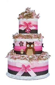 Baby girl owl diaper cake... inspiration for real cake!