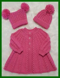 Aurora Baby Knitting Pattern 18 - Her Crochet Knitting Baby Girl, Baby Cardigan Knitting Pattern Free, Baby Sweater Patterns, Knitted Baby Cardigan, Knit Baby Sweaters, Knitted Baby Clothes, Knitting For Kids, Finger Knitting, Scarf Patterns