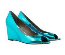 Cannes Teal metallic wedge heels