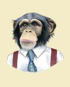Impresión de arte chimpancé por Ryan Berkley 8 x 10