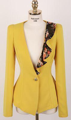 Wavy hem lotus leaf collar slim-fit small suit nice