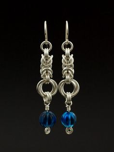 Beaded Byzantine Rose Earrings - Classic Chainmaille Dangles - Kit or Ready Made