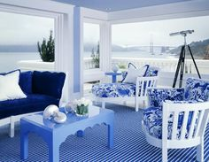 Beautiful Rooms Decorated in Blue and White - Traditional Home®  Of course the view would be nice too!