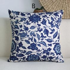 Chinoiserie blue and white flower pillow for couch decor sofa cushions 18 inch