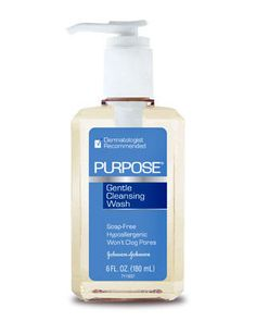 PURPOSE by Johnson&Johnson-; a great morning/night facewash that's a gentle cleanser but does the job! removes impurities of the face as well as makeup.