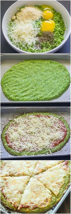 Low Carb Recipes You've seen cauliflower crusted pizza, but have you tried broccoli? - Healthy homemade broccoli crust pizza is gluten-free and low-carb and Gluten Free Recipes, Low Carb Recipes, Vegetarian Recipes, Cooking Recipes, Healthy Recipes, Dishes Recipes, Recipes Dinner, Meal Recipes, Recipies