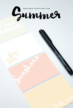 Use these printable notecards for summer crafts and parties! Great for little neighbor gifts, love notes, handouts, or just to have in your home office.