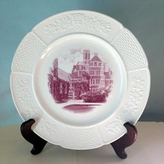 "Wellesley College Claflin Hall Wedgwood dinner plate 10.5"" rare MULBERRY color"