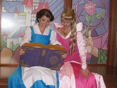 Belle from Beauty and the Beast with Aurora from Sleeping Beauty