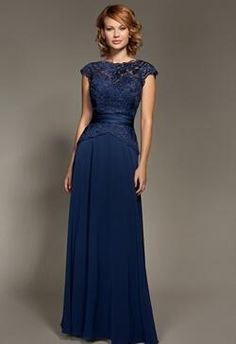 Empire Bridesmaid Dresses With Crew And Floor- Length Covered Button Applique Short Sleeve Chiffon 2014 New Prom Dresses