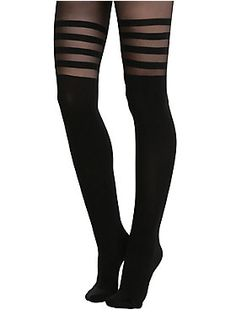 Black faux thigh high tights with black stripe detailing. 80% nylon; 20% spandexHand wash cold; drip dryImported