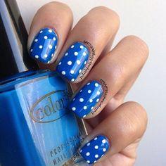 30 Amazing Dots Nail Art Ideas #Nails #NailArt Blue Polka dot  www.finditforweddings.com