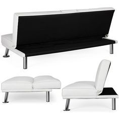 LuxuryGoods Modern Faux Leather Futon Sofa Bed Home Recliner Couch, White - Walmart.com - Walmart.com Sofa Bed Home, Futon Sofa Bed, Sleeper Sofa, Sofa Bed Black, Black Futon, White Futon, Leather Futon, Sofa Company, Guest Bed