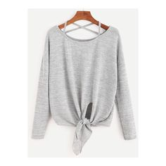 SheIn(sheinside) Criss Cross Strap Knot T-Shirt ($13) ❤ liked on Polyvore featuring tops, t-shirts, shirts, shein, shirts/sweatshirts, sweatshirts, grey, round neck t shirt, grey long sleeve shirt and tee-shirt