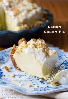 The Best Ever Lemon Cream Pie Recipe with Graham Cracker Crust on ASpicyPerspective.com