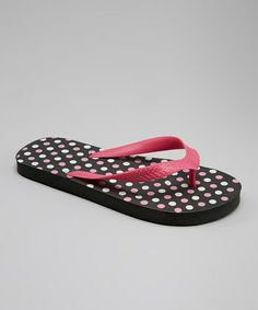 Black and white and pink polka dot flip flops Raya Sun | Styles44, 100% Fashion Styles Sale