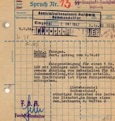 "An order of departure for 5 tons track to Dessau for ""materials for Jewish resettlement"" from October 2, 1942. In Dessau there was a factory producing Cyclon B, which was used to kill people in gas chambers."