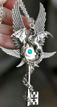 Shop for steampunk on Etsy, the place to express your creativity through the buying and selling of handmade and vintage goods. Key Jewelry, Cute Jewelry, Jewelry Accessories, Jewelry Making, Steampunk Accessoires, Dragon Jewelry, Dragon Necklace, Magical Jewelry, Key To My Heart