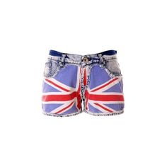 Great Britain Flag Washed Denim Shorts ($45) ❤ liked on Polyvore