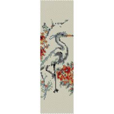 Crane Peyote Bead Pattern, Bracelet Cuff, Bookmark, Seed Beading Pattern Miyuki Delica Size 11 Beads - PDF Instant Download by SmartArtsSupply on Etsy