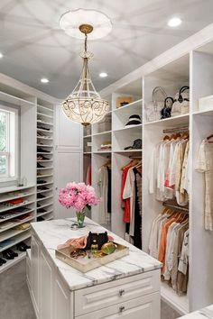 19 Luxury Closet Designs I seriously want fresh flowers in my walk in closet. first i need a walk in closet. Walk In Closet Design, Bedroom Closet Design, Master Bedroom Closet, Closet Designs, Master Suite, Wardrobe Design, Walking Closet, Dressing Room Closet, Dressing Room Design