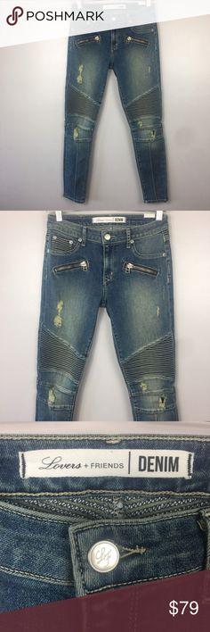 lovers+friends women Sz 26 araon moto skinny jeans lovers + friends womens size 26 araon moto skinny jeans distressed  waist across inseam Lovers + Friends Jeans