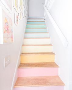 DIY Stairs Rainbow Gallery Wall DIY Stairs Rainbow Gallery Wall Danielle Malone daniellemalone Living Rooms DIY stairs rainbow gallery wall Want some simple tips on nbsp hellip gallery wall Deco Pastel, Pastel Decor, Modern Gallery Wall, Decoration Bedroom, Pastel Wallpaper, Pretty Pastel, Candy Colors, Pastel Colors, Soft Pastels