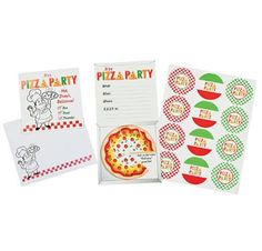 Pizza Party Invitations (12).  Awesome pizza themed invitations for your party!  set of 12 invitations includes envelopes & envelope seals.  11.4cm x 11.4cm
