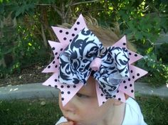 Items similar to Spikey Boutique Hairbow.Scroll n Dots Layered Double Bow and Headband.Great for Newborn Toddler big Girl on Etsy Crafts For Girls, Diy For Girls, Flower Hair Clips, Flowers In Hair, Boutique Hair Bows, Diy Hair Bows, Cheer Bows, Girls Bows, Great Hair