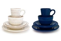 Bambeco's Sonoma dinnerware collection is made with natural clay and hand-painted with food-safe, lead-free colors. Shown here in ivory and navy (also available in red, yellow, celadon, tan, and chocolate), the collection is dishwasher- and microwave-safe; pieces are sold individually starting at $6 or in a set starting at $37. Featured in Architectural Digest!