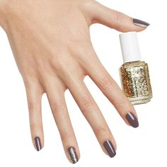 bold gold accent - nail art by essie looks