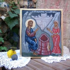 Contemporary icon of Jesus Christ with the Samaritan woman on Jacob's  well- St Photini  byzantine art holy iconography of Greece by angelicon