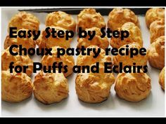 Step by step video on how to make French Choux pastry. With this recipe you will be able create delicious Choux puffs and eclairs very easily. Choux pastry i. Sweet Pastries, Bread And Pastries, French Pastries, Donut Recipes, Cupcake Recipes, Cooking Recipes, Croissants, Eclair Recipe, Cream Puff Recipe