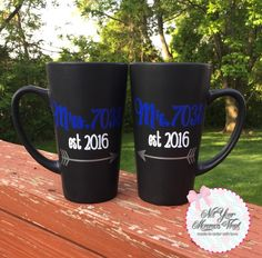 Mr. and Mrs. Police Badge Number Mug Set-police, police spouse, wedding gift…