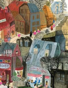 Adorable French city scene....Beatrice Alemagna