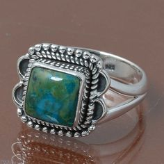 CHRYSOCOLLA 925 STERLING SILVER RING JEWELRY 4.87g DJR7026 SIZE 8.5 #Handmade #Ring